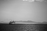 Java - Sumatra ferry crosses the Sunda Strait in the afternoon