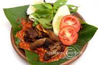 Delicious Empal Goreng(Sweet Fried Beef) with Sambal Sauce