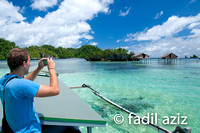 Tourist in Togean, Sulawesi, Taking Picture