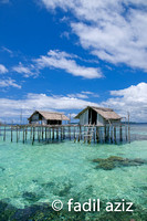 Fishing Hut on The Sea With Beautiful Back Ground of Blue Sky and Crystal Clear Sea Water, Togean Island, Indonesia