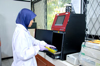 A researcher working in Biotechnology lab of Cibinong Science Ce