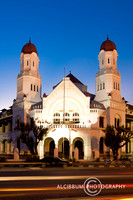 Lawang sewu at night with a light trails