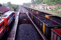 Coal train or unit train of Tarahan powerplant, Lampung, Sumatra