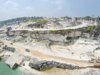 Aerial view of traditional limestone quarry