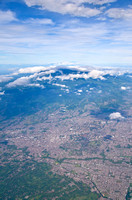 Aerial view of Malang city with Mt Butak and Kawi behind