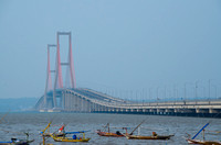Suramadu, a bridge that connects Surabaya (Indonesia's second largest city) with Madura island. Stretch for 5.4 km.